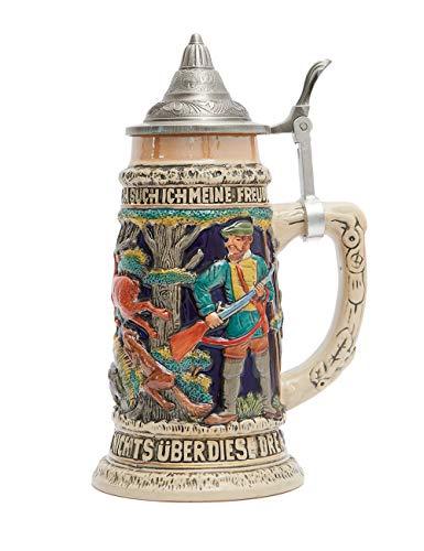 Amoy-Art Bierkrug mit Deckel Bierseidel Steinkrüge Deutschland Jagen Stein Mug für Vater Männer...