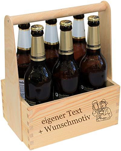 Männerhandtasche Bier personalisiert - Bierträger aus Holz mit Gravur - Name Spruch Motiv -...