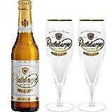 Radeberger Premium Pils Bier 0,33l (4,8% Vol) + 2x Gläser Pokalgläser -[Enthält Sulfite] - Inkl....