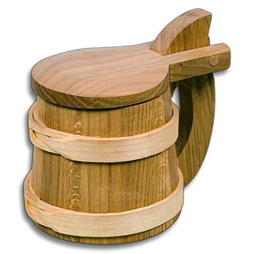 HOFMEISTER® Bierhumpen Wikinger, mit Deckel, aus Eichen-Holz & Kirschbaum-Holz