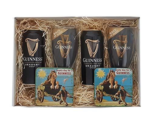 Guinness Geschenkpaket mit Bier, Original Gläsern und Untersetzer