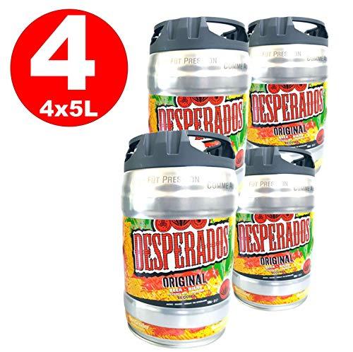 4 x Desperados Bier mit Tequila Partyfass 5 Liter Fass inkl. Zapfhahn 5,9% vol.