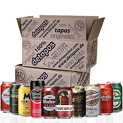 Spanisches Bier - Geschenke, 10 Dosen 330 ml, San Miguel, Cruz Campo, Estrella Galicia, Mahou