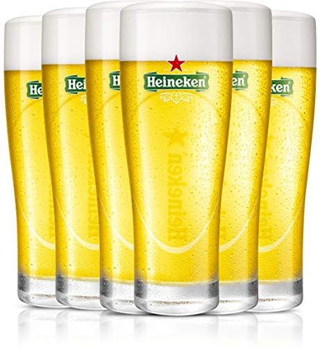 Heineken | Biergläser | 6-teiliges Set | Ellipse | 25 cl / 250 ml | Grünes Logo | Bier Gläser