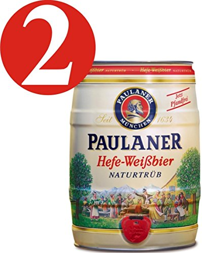 2 x Paulaner Hefe-Weissbier Naturtrüb 5,5% vol 5 Liter Partyfass