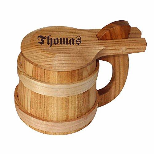 Bierkrug mit Deckel aus Holz - Gravur mit Namen inklusive! Holz-Humpen zum Sammeln und Trinken für...