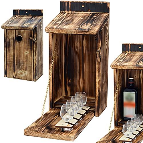 Alcohol Cage® - Holz Vogelhaus mit Platz für Flasche Schnaps 0.7 Liter und Glas Lustige Geschenke...
