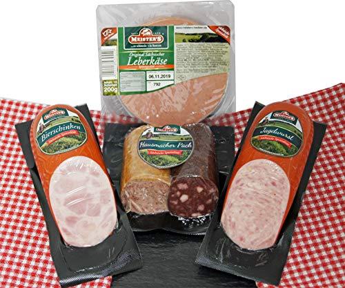 Hausmacher Wurstpaket Brotzeit Set | Leberkäse | Leberwurst geräuchert | Blutwurst | Bierschinken...