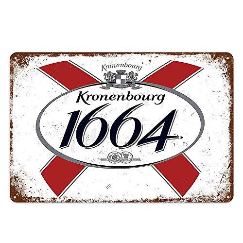 XunYun Blechschild, Kronenbourg, 1664 Bier, Retro-Dekor für Bar, Café, Kneipe, Größe 20,3 x 30,5...