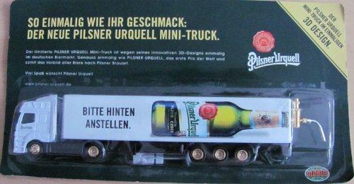 Pilsner Urquell Nr.18 - Bitte hinten anstellen - Globus Markt - MB Axor - Sattelzug mit Zapfhahn