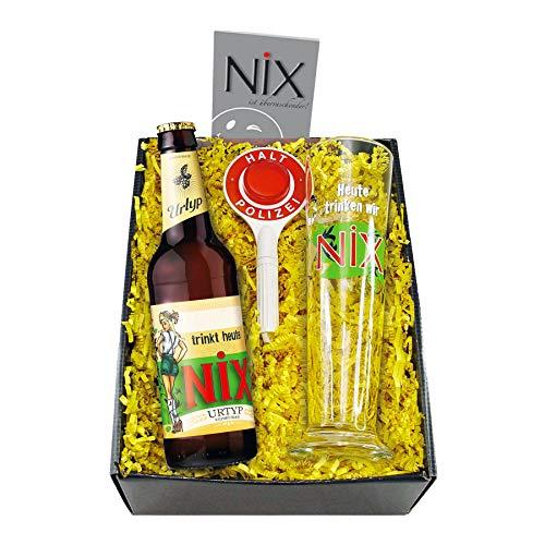 Monsterzeug Nix im Glas, Geschenkset mit Bier, Pilsglas und Polizeikelle, Lustiges Biergeschenk für...