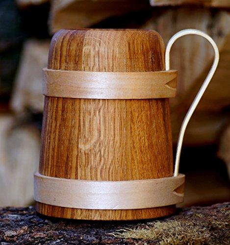 Bierkrug aus Eichenholz Humpen Römer Krug Geschenk Mann Bier Trinkgefäß Holz Seidel