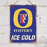 Oti34fgtephe Metall-Nachbildung Wandschild Fosters Ice Cold Mancave Dekoration Bar Pub Lager