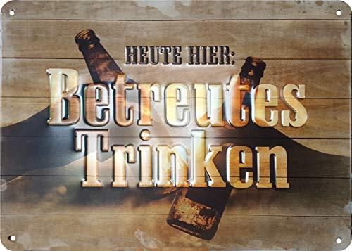 Blechschild mit Spruch, Blechschild Bier, Retro Blechschild, Vintage-Schild, Metall, 15x21 cm,...