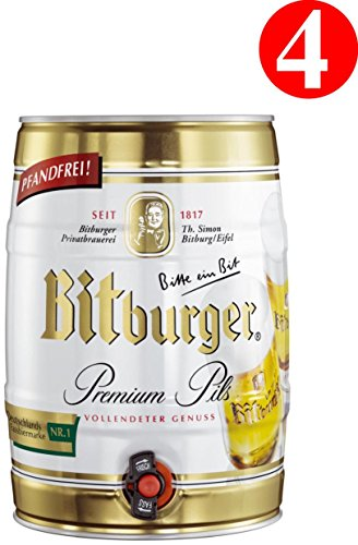 4x Bitburger Premium Pils 5 Liter Partyfass 4,8% Vol.