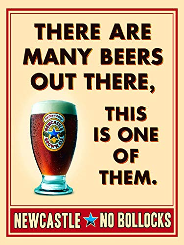 PotteLove Newcastle Brown Ale,Beer Metal Sign,Retro,Kitchen,Diner Vintage Aluminum Metal Signs Tin...