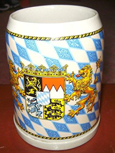 meinherzschlag Stein-Bierkrug mit Bayern-Rauten