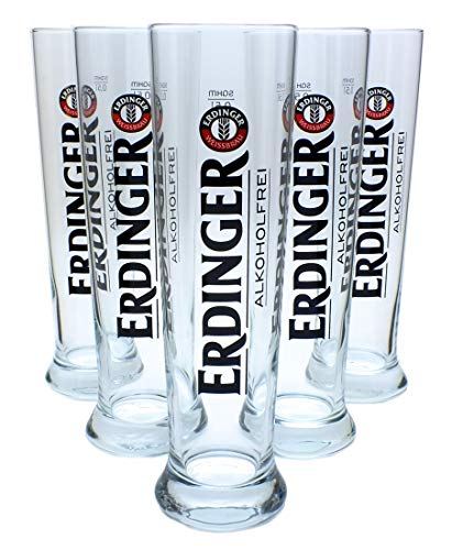 6x Erdinger Alkoholfrei Weizenbierglas 0,5L, Gläser, Bierglas, Markenglas, Weißbierglas (ohne...