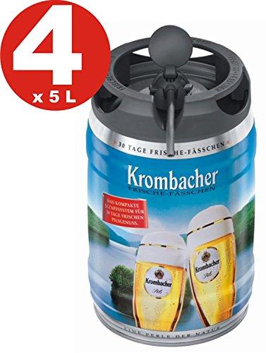 4 x Krombacher Pils Frische-Fässchen, 5 Liter 4,8% vol Partyfass