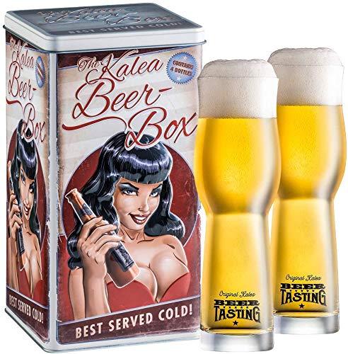 Kalea Bier-Box | Metallbox mit 3D-Prägung | 4 X 0.33 L Bierspezialitäten | Inkl. 2...