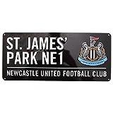 Newcastle United FC St James Park Straßen Schild mit Club Wappen (Einheitsgröße) (Schwarz)