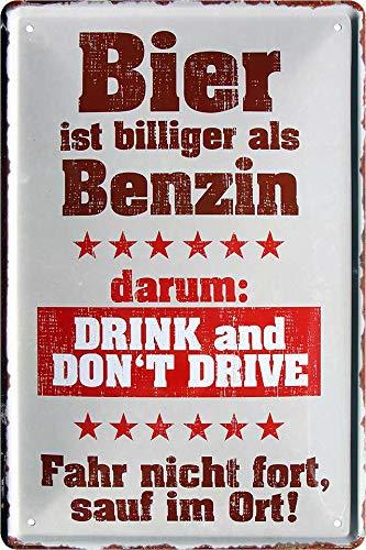 """Blechschilder Bier lustiger Spruch: """"Bier ist billiger als Benzin"""" Deko Schild Bar-Schild Theke..."""