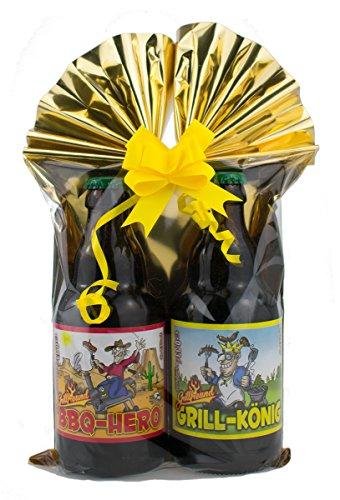 Grill-Bier 2er- Geschenkeset 2 in Folie und Schleife verpackt als Geschenk (Grill-Bier Geschenk-Set...
