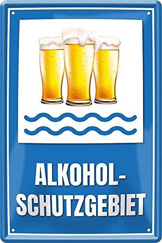 """Blechschilder Lustiger Alkohol Trink Spruch """"Alkohol-Schutzgebiet"""" Bier Deko Schild Metallschild..."""
