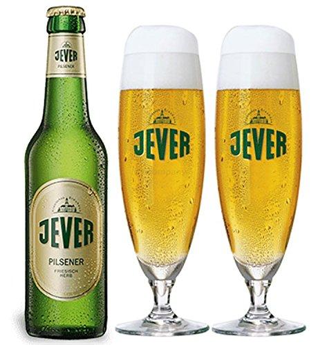 Jever Pilsener Bier 0,33l (4,9% Vol) + 2x Gläser Pokalgläser -[Enthält Sulfite] - Inkl. Pfand...