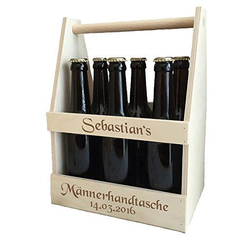 Männerhandtasche/Bierträger mit kostenloser Gravur - echter Sixpack als Geburtstagsgeschenk |...