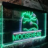 zusme Moosehead Lager Beer Man Cave Neuheit LED Neon Schild White + Green W60cm x H40cm