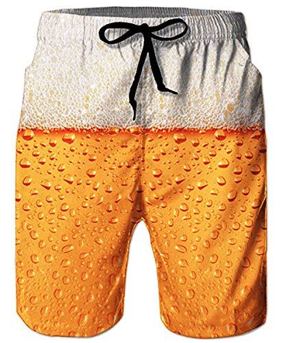 ALISISTER Badeshort Herren 3D Bier Druck Sommer Badehose Elastische Taille Strandshorts Beiläufig...