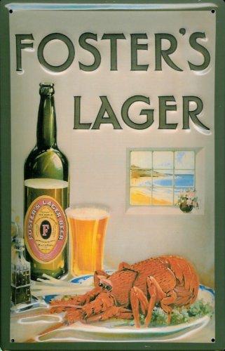 Blechschild Nostalgieschild Foster's Lager Bier Beer Retro Schild Hummer Brauerei