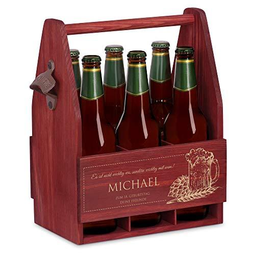 Murrano Bierträger für 6 Flaschen 0,5L + Gravur - Männerhandtasche mit Flaschenöffner - Größe:...