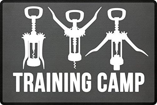 PlimPlom Training Camp Fußmatte für die Haustür oder Außenbereich - Lustige Wein Korkenzieher...
