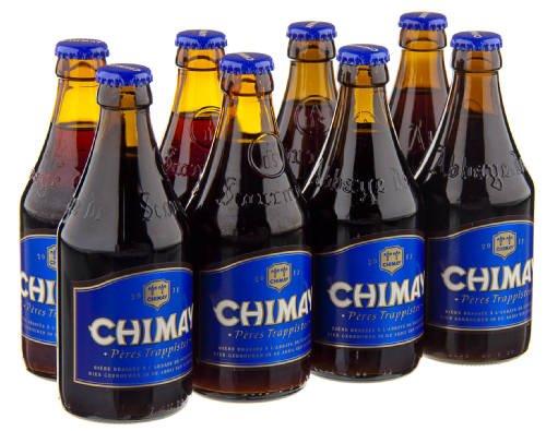 Original belgisches Bier- CHIMAY Trappist (blau) 8 x 33 cl. 9% vol. Trappisten Bier limitiert....