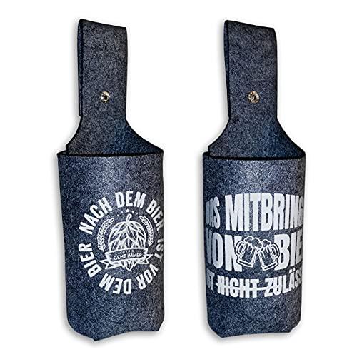 Bier Holster Doppelpack, mit Spruch. Bierflaschen-Halter Mann,Flaschn Holster, 0,33-0,5...