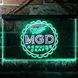 zusme Miller Genuine Draft MGD Neuheit LED Neon Schild White + Green W60cm x H40cm