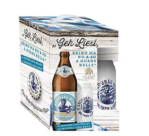 Genussleben Bier Mix Mooser Liesl 5,3% vol. 3x 0,5l mit Steinkrug