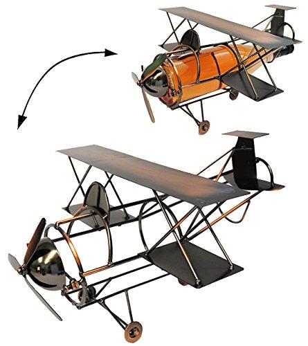 alles-meine.de GmbH Flaschenhalter / Flaschenständer -  Flugzeug mit Propeller  - aus Metall -...