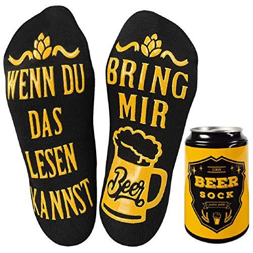 Tuopuda Bier-Socken Lustige Socken Damen Herren mit Spruch WENN DU DAS LESEN KANNST BRING MIR BEER...