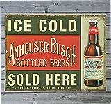 43LenaJon Vintage Retro Reproduktion Metall Blechschild Ice Cold Anheuser Bush Budweiser Bier