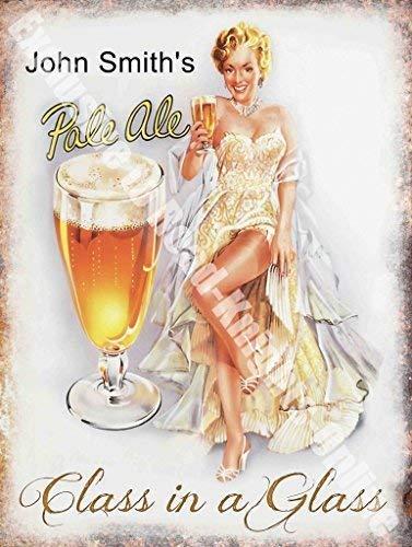 Vintage Drink John Smith's Pale Ale Mädchen Bier Bar Pub Café-metall/Stahl Wandschild - 20 x 30 cm
