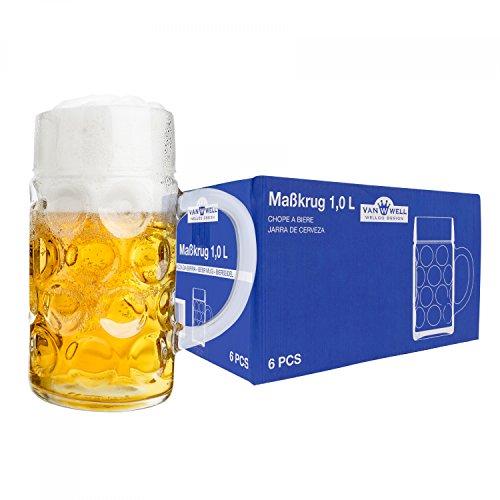 Van Well 6er Set Maßkrug 1 Liter geeicht | großer Bierkrug mit Henkel | Bierglas...