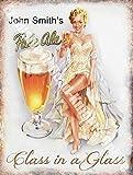 Vintage Drink John Smith 's Pale Ale Girl Beer Bar Pub Cafe aus Metall/Stahl Wandschild, stahl, 9 x...