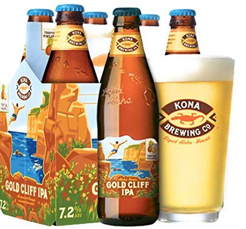 4 Flaschen Kona Bier Gold Cliff IPA a 0,355l aus Hawaii Aloha Series Tropical Pineappel Ananas mit...