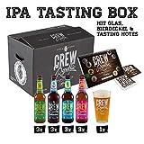 CREW Republic IPA Craft Beer Geschenkbox, Biergeschenk inkl. Verkostungsglas und Tasting Notes (12 x...