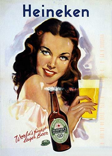 KODY HYDE Metall Poster - Heineke Beer - Vintage Blechschilder Retro Dekoration Schild Aluminium...