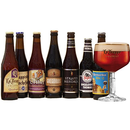 Quadrupel Bier Probierpaket mit 7 starkbiere trappistenbier + La Trappe Glas
