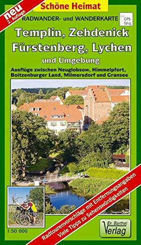 Radwander- und Wanderkarte Fürstenberg, Lychen, Templin, Zehdenick und Umgebung: Ausflüge zwischen...